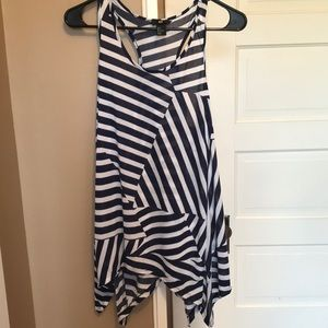 Blue and white striped long flowing tank!